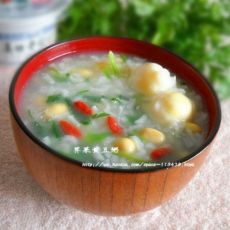 春季养生粥~荠菜黄豆粥的做法