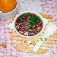 花生黑米青菜粥的做法