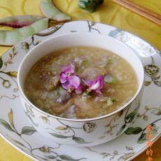 扁豆花肉片糯米粥