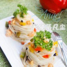 虾仁紫菜拌面的做法步骤