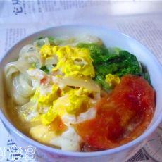 番茄青菜鸡蛋面的做法