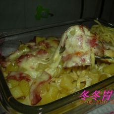 咖喱土豆培根芝士面条的做法