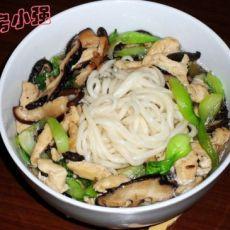 如何做寿面――香菇油菜鸡丝面