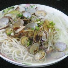 黄瓜花蛤汤面条