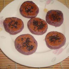 黑芝麻紫薯糯米饼