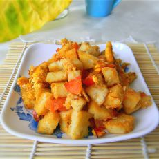 鸡蛋柿子炒馒头丁