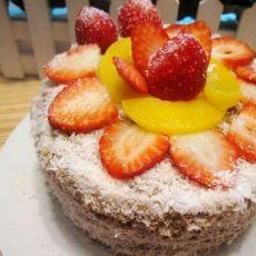 卡士达酱咖啡水果蛋糕