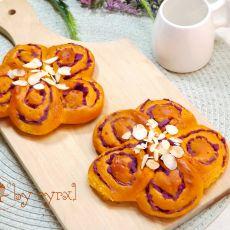 红甜椒紫薯花朵面包