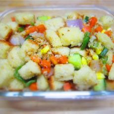 杂蔬炒吐司的做法