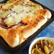 咖喱海鲜披萨