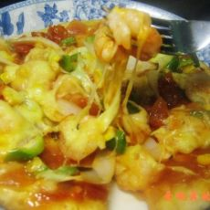 虾仁杂蔬比萨