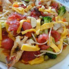 腊肠大虾批萨的做法
