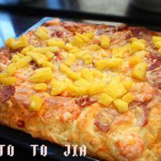 鲜虾培根厚底芝士披萨