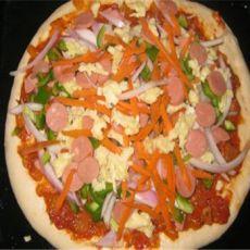 改良火腿菜蔬披萨