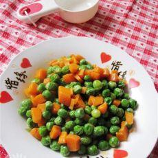 豌豆炒胡萝卜粒的做法