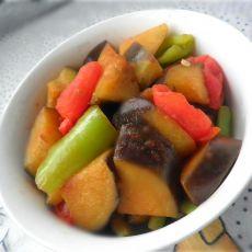 西红柿青椒炒茄子