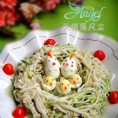 凉拌金针菇――幸福的小鸡一家