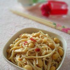 腊八豆拌金针菇的做法