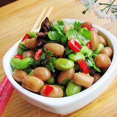 简单美味的配粥小菜----美极花生拌毛豆的做法
