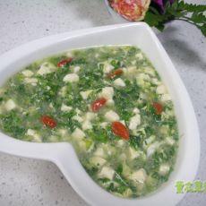 野生荠菜豆腐羹