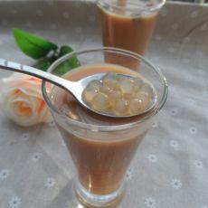 玫瑰花西米奶茶的做法