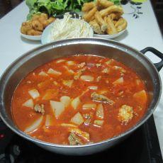 牛肉油条萝卜火锅的做法