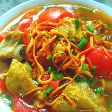 虫草花番茄排骨汤的做法