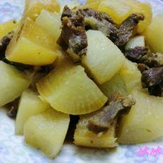 猪肉干焖白萝卜的做法