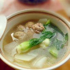 萝卜肉丸青菜汤的做法