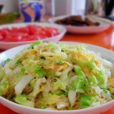 鸡蛋圆白菜炒粉丝的做法