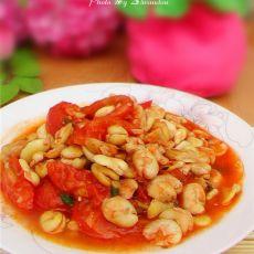 西红柿炒蚕豆的做法