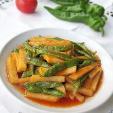 茄汁焖土豆四季豆的做法