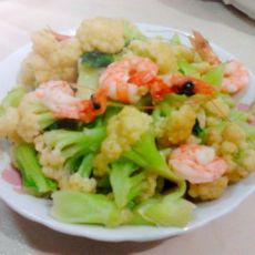 虾仁炒花菜的做法