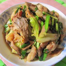 白菜蘑菇炒韭菜