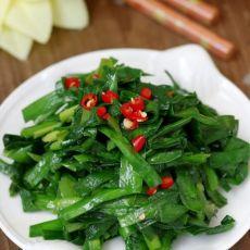 纯绿色素炒韭菜