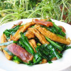 豆干香肠炒韭菜