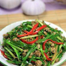 椒丝韭菜炒沙蚬