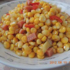 玉米粒炒火腿肠的做法