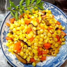 炒红箩卜玉米粒的做法