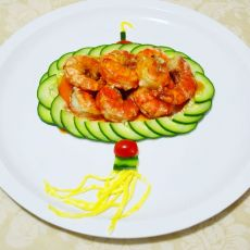 灯笼茄汁大虾的做法