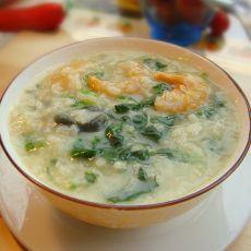 菠菜皮蛋海鲜粥