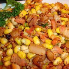 培根炒玉米花生