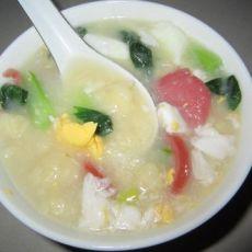 青菜火腿疙瘩汤