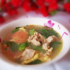 青菜番茄鸡蛋肉片汤