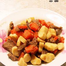胡萝卜山药炒牛肉的做法