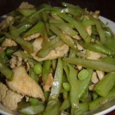 鸡肉片炒扁豆丝