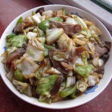 家常圆白菜炒蘑菇