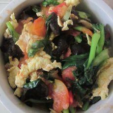 西红柿青菜蘑菇炒鸡蛋