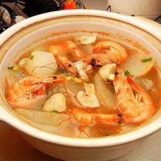 蘑菇海虾萝卜汤