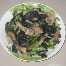 肉丝蘑菇炒大蒜的做法